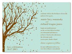 Tree Wedding Invitations ~ Swinging Leaves (seeded)