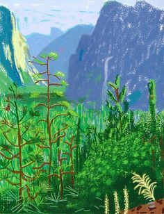 David Hockney (British, b. Yosemite I, October iPad drawing printed on six sheets of paper, mounted on six sheets of Dibond. David Hockney 'A Bigger Exhibition' at de Young Museum British Artist, Ipad Drawings, Ipad Art, Ipad Painting, Artist Canvas, Museum Of Fine Arts, David Hockney Landscapes, Art, Landscape Art