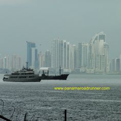 This picture was taken by a #Roadrunner customer from the #Amador Causeway.  It was a rainy day and they were taking pictures of the freighters but I love the way that #Panama #City shows up in the hazy background!