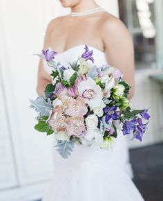 Soft blue and purple Bouquet Matthew Ree Photography | blog.theknot.com