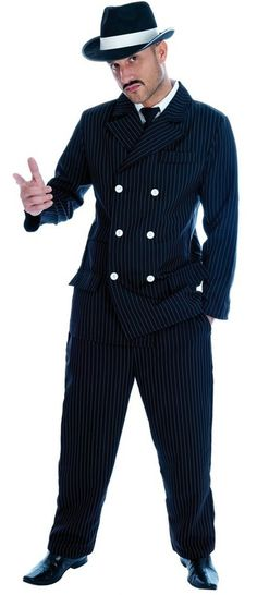 Bugsy 70s Pimp Gangster Rapper Daddy Pinstripe Suit Fancy Dress Costume with Hat