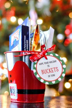 3 Easy Gifts Ideas for Friends - Buckets of Fun Christmas Gift Idea and Printable Tag - fill with cards, card game instructions and maybe some tiny booze bottle samples. Or popcorn and popcorn spices, etc. Easy Diy Christmas Gifts, Christmas Gifts For Friends, Easy Gifts, Homemade Christmas, Homemade Gifts, Christmas Fun, Holiday Fun, Holiday Gifts, Unique Gifts