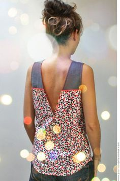 """E-patron """"Back is back"""" de Vanessa Pouzet Make it higher and would be a nice cool top for summer Diy Clothing, Sewing Clothes, Clothing Patterns, Sewing Patterns, Dress Patterns, Barbie Clothes, Diy Vetement, Cooler Look, Bohemian Mode"""