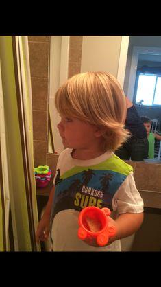 Toddler boy long blonde hair surfer