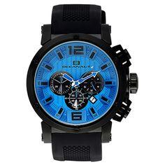 Men's Blue Dial Black Silicon - Oceanaut Watch