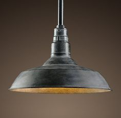 RH's Vintage Barn Pendant:A reproduction of an enamel pendant that's been a fixture – literally – in barns across the country for the last century, this design classic deserves to be brought indoors. We preserved the functional design, and gave it a new look in a variety of finishes.