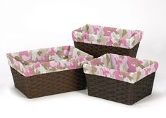 Pink Camo Collection Basket Liners by Sweet Jojo Designs, Multi