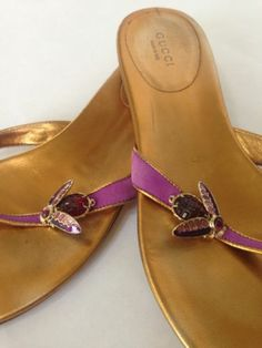 GUCCI Magenta Leather Sandals Flats Queen BEE Jeweled 9 Italy Resort Cruise