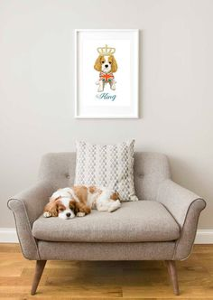King Charles Spaniel Cavalier print Cav print King by LEAPUP