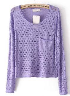 Purple Long Sleeve Hollow Pocket Pullover Sweater - Sheinside.com
