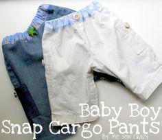 PR&P Tutorials, Week 3 - Baby Snap Cargo Pants - The Sewing Rabbit www.kamsnaps.com