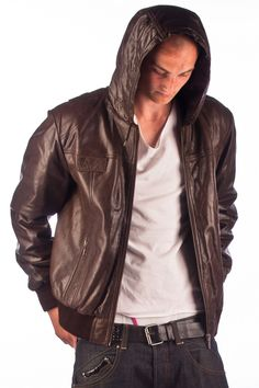 For the boyfriend - Brave Soul Jacket, Slate Faux Leather Hooded ...
