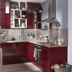Meuble de cuisine rouge DELINIA Griotte