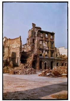 During World War II of Warsaw was destroyed. Dramatic snaps in colour show the centre of the city, including Śródmieście, Old Town and m. Poland Ww2, Warsaw Poland, Europe Centrale, Warsaw Uprising, Poland History, Warsaw Ghetto, Poland Travel, World War Ii, Old Town