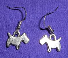 SCOTTIE TERRIER DOG EARRINGS - Pewter with Sterling Silver Ear Wires - SCHNAUZER #Handmade #DropDangle