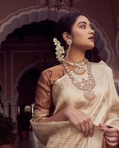 Crafted with precision, brilliant diamond and gold jewellery by redefines grandeur. For queries… Ethnic Outfits, South Indian Bride, Saree Dress, Sari, Indian Designer Wear, Saree Blouse Designs, Saree Wedding, Saree Collection, Indian Wear