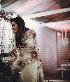 Sparkling border and pallu saree in pale mint green. Indian Bridal Fashion, Indian Wedding Outfits, Indian Outfits, Designer Sarees Wedding, Saree Wedding, Pakistani Dresses, Indian Dresses, Indian Saris, Bridal Chura
