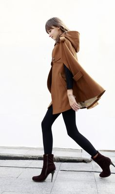 Cape Coat Double Breasted Cape Hooded Wool Winter Cape Coat Hood Wool Cloak Hoodie Cashmere Cape Jacket in dark camel for Women - Fashion Cover, Fashion Line, New York Fashion, Cool Outfits, Fashion Outfits, Womens Fashion, Fashion Trends, Cape Coat, Cape Jacket