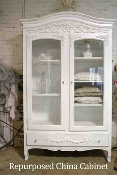 Re-purposed China Cabinet. #rusticfarmhouse #frenchcottage #cottage #rustic #shabbychic #chinacabinet #ad