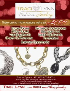 SO MANY REASONS TO BE A PART OF THIS WONDERFUL BUSINESS! WE ARE JUST WAITING ON YOU! CONTACT ME TODAY FOR MORE INFORMATION! **TRACI LYNN JEWELRY**