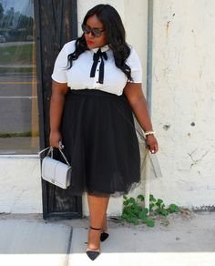 Musings of a Curvy Lady, Plus Size Fashion, Fashion Blogger, Chanel Inspired, Black and White Outfit, Rebecca Minkoff Handbag, Women's Fashion