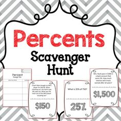 CCSS & TEKS ALIGNED. Scavenger Hunt using higher-level questioning that includes proportions, percent increase/decrease, and simple interest. Can be used as a test review or as an individual lesson.Included Pages:1-Percent Increase1-Percent Decrease3-Basic Percent Proportions1-Tip1-Commission2-Simple Interest1-Sales Tax*~*~*~*~*~*~*~*~*~*~*~*~*~*~*~*~*~*~*~*If you enjoyed this product, find similar products here:Scavenger Hunt: Similar Figures & Scale FactorScavenger Hunt: Area & ...