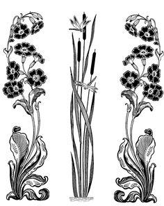 Motifs Art Nouveau, Art Nouveau Pattern, Art Nouveau Design, Pattern Art, Design Art, Art Nouveau Mucha, Art Nouveau Tattoo, Tatuaje Art Nouveau, Tattoo Art