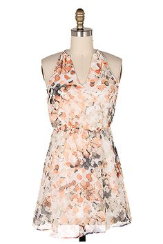 Chiffon Mina Dress - Fully Lined, Breezy Soft A-Line Cut Dress in Gorgeous Soft Corals and subtle Slimming Vertical Print. No frills V Cut Neckline, add a chic belt and go.