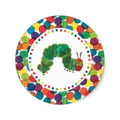 Shop The Very Hungry Caterpillar Birthday Classic Round Sticker created by worldofericcarle. Baby's First Birthday Gifts, 1st Birthday Parties, First Birthdays, Surprise Birthday, Birthday Ideas, Birthday Bunting, Farm Birthday, Construction Birthday Parties, Construction Party