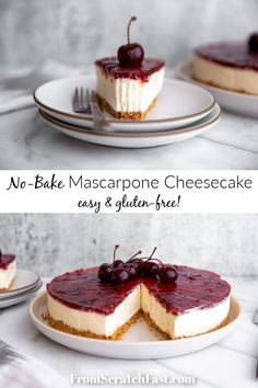 You aren't going to believe how easy it is to make this creamy and delicious no bake mascarpone cheesecake! It's a stunning dessert for any occasion. Desserts Ostern, Köstliche Desserts, Delicious Desserts, Dessert Recipes, Plated Desserts, Easy No Bake Cheesecake, Gluten Free Cheesecake, Cheesecake Recipes, Raspberry Cheesecake