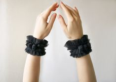 Goth style 463730092882606018 - Black tulle set of cuffs with handmade small roses in Victorian Goth style – Ruffle wrist cuffs – Vampire armbands – Queen of spades jewelry Source by rithikamehta Victorian Goth, Gothic, Queen Of Spades, Small Rose, Handmade Art, Handmade Jewelry, Handmade Gifts, Lace Ruffle, Floral Lace