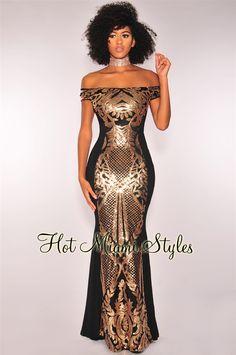 6dde5ac2190 Black Gold Victorian Sequins Off Shoulder Gown
