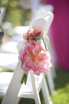 Sweet little chair hangers.  santa barbara wedding coral blush peach peonies ombre