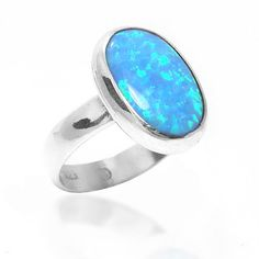 Opal Ring Sterling Silver 925 Oval Opal Ring by Milanojewelry