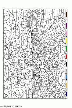 colorear-con-numeros-025 Abstract Coloring Pages, Fall Coloring Pages, Disney Coloring Pages, Mandala Coloring Pages, Coloring For Kids, Coloring Sheets, Coloring Books, Adult Color By Number, Color By Number Printable