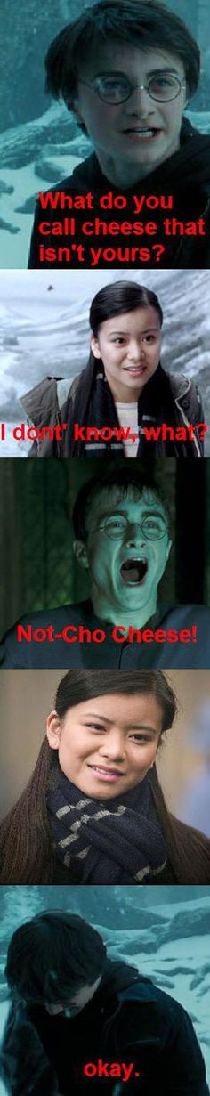 Hahahaha see Harry Potter can turn the cheesiest of jokes (no pun intended) into awesome ones. This is why Harry Potter wins. Harry Potter Voldemort, Harry Potter Comics, Harry Potter Puns, Draco, Hery Potter, No Muggles, Yer A Wizard Harry, E Mc2, Smosh