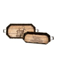 Add woodland charm to your home with these trays that house extra decor items or sits drinks and snacks at your next soiree. Wood Tray, Decorative Items, Deer, Kitchen, Crafts, Cooking, Decorative Objects, Home Kitchens, Crafting