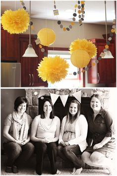Yellow and Gray baby shower. awesome. and even better thats the crib i plan on buying! good to know it looks good. have the poms too!