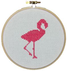 Retro flamingo cross stitch embroidery hoop print.   Kits and patterns available from: www.thebrodrickdesignstudio.co.uk