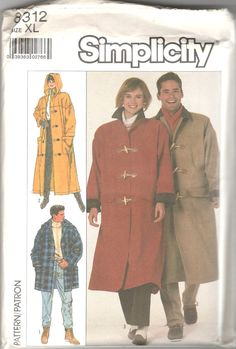 Vogue Sport 8452 Mens Misses Duffle Toggle Coat Pattern Hood ...