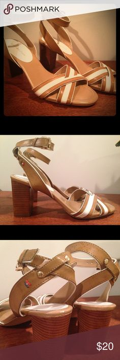 """Tommy Hilfiger strappy sandals Size 9, never worn, tan and white strappy sandals. Solid 3"""" platform heel. True to size. Tommy Hilfiger Shoes Heels"""