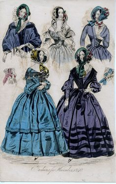 Women's Fashion prints from the 1830s through 1850s