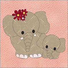 Mother and Baby Elephants Quilt Block Quilt Appliqué Downloadable Instant PDF Pattern. 6 x 6 inch finished block.  I design my patterns for