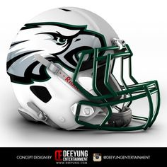 NFL Concept Helmets -2015 Phiadelphia Eagles.  Deeyung Entertainment took this a step further by creating new helmets for all 32 teams. The designs are futuristic, and some of them very cool -- but old school fans won't be pleased
