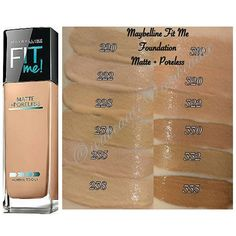 maybelline fit me matte + poreless Eye Makeup Tips, Makeup Eyeshadow, Makeup Cosmetics, Beauty Makeup, Maybelline Fit Me Concealer, Maybelline Fit Me Foundation, Foundation Colors, Makeup Foundation, Makeup Swatches