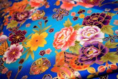 Gold Blue kimono fabric - Japanese Fans by carol-san*, via Flickr