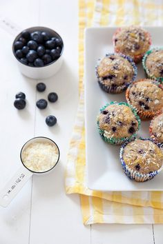 Lightened Up Lemon Blueberry Muffins | Annie's Eats - these were awesome and I made a double batch to freeze for when the baby comes!