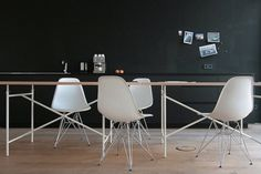 eames chairs, dark, dining, office