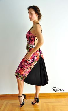 Floral tango dress with black tail by reinatango on Etsy