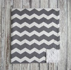 Chevron Baby Blanket Gray and White With Gray or White Dot Minky Back, Other Colors Available on Etsy, $31.00